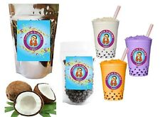 10+ Drinks Coconut Boba / Bubble Tea Kit: Tea Powder, Tapioca Pearls & Straws