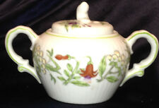 SIGMA TIFFANY COLLECTION SUGAR BOWL & LID FLORAL GREEN TRIM FLUTED JAPAN