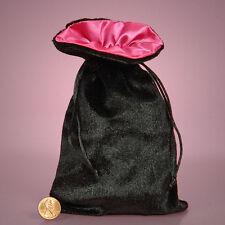 NEW Black Velvet Satin Lined Tarot Drawstring Bag Pouch