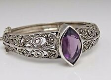 Vintage Sterling Marcasite Amethyst Bangle Bracelet.