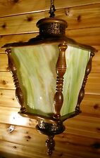 Large Vintage Swag Hanging Lamp 60s Stained Glass Wood Bronze Green