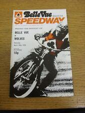 19/04/1975 Speedway Programme: Belle Vue v Wolverhampton [KO Cup] (results/rider