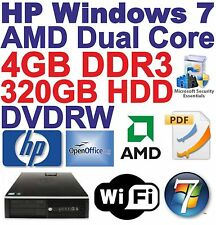 - Windows 7 HP-AMD _ Dual Core _ Desktop PC Computer - 4 GB RAM - 320 GB-WI-FI -