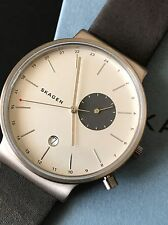 Skagen SKW6319 Mens Ancher Titanium Silver Dial Gray Leather Date Watch NWT