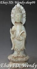 """9"""" Chinese Hand Carving Old Jade Kwan yin Guan Yin Quan Yin Goddess Statue"""
