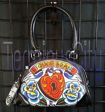 LIQUOR BRAND HEART LOCKER SMALL BOWLING HANDBAG Purse Bag Tattoo Flower Rose NWT