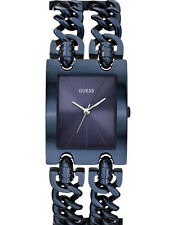 NEW GUESS WOMEN U0073L3 BLUE DIAL STAINLESS NAVY ION-PLATED CHAINS DRESS WATCH