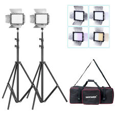 2x W160 LED Barn Door VIDEO LIGHT + 2x  190CM LIGHT STAND + 1x Kit Bag
