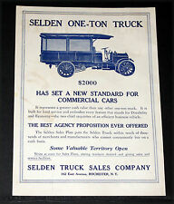 1913 OLD MAGAZINE PRINT AD, SELDEN ONE-TON TRUCK, STANDARD FOR COMMERCIAL CARS!