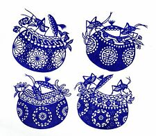 Chinese Paper Cuts - Pair Cricket Set (Blue - 4 small pieces)