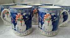 Lot of 7 Epoch By Noritake China Mr Snowman 12 oz Mugs Cups Great Condition