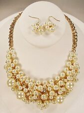 Bib Bridal Necklace Set Faux Pearl Crystal Cluster Gold Tone Wedding