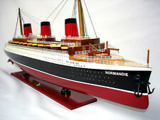 "SS Normandie French Cruise Ship 41"" Built Ocean Liner Wooden Model Assembled"