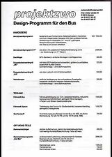 Volkswagen Transporter Bus Projektzwo Bodystyling Price List 1989-90 Brochure