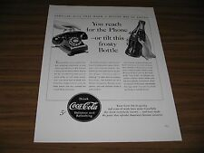 1940 Print Ad Coca-Cola Rotary Dial Telephone & Bottle of Coke