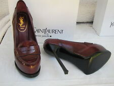 YVES SAINT LAURENT YSL SHOES PLATFORM LOAFERTRIBTOO 150 MOCCASIN DEEP RED 36.5
