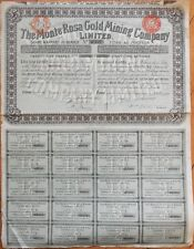 1898 Stock Certificate: 'Monte Rosa Gold Mining Company, Ltd.' - London - Blue