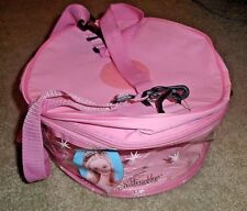 BARBIE KEN DOLL, CLOTHES, SHOES & ACCESSORY ROUND ZIPPERED STORAGE SUIT CASE