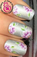 NAIL ART WATER TRANSFERS DECALS STICKERS SET FLORAL PURPLE WHITE FLOWERS #262