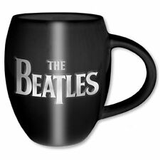 Official The Beatles - Drop T & Apple - Embossed Black Ceramic Oval Mug