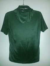 JACLYN SMITH Women's SHIRT Size S Classic Short Sleeve Green Mesh COWL Neck Top