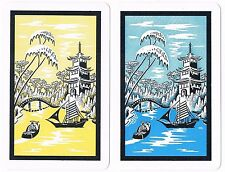 Astor Oriental Pagoda & Boats Asian Playing Cards Double Deck Set