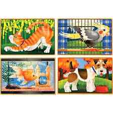 Baby Toddler Melissa Doug Pets Wooden Box Jigsaw Puzzles Education Toys Kids NEW