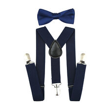 Navy SUSPENDER and BOW TIE Matching SET Tuxedo Wedding Suit Party for Baby Kids