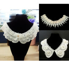 3 Mixed Beaded Flower Neckline Lace Collar Charming DIY SEW ON Sewing Applique
