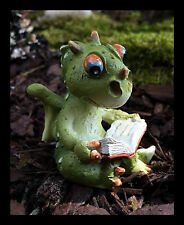 """Fairy Garden"" Dragon Reading Resin Figurine Fantasy"