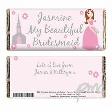 Personalised wedding chocolate bar thank you gift for Bridesmaid or Flower Girl