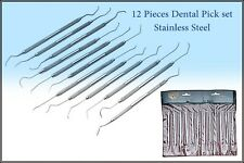 12 PIECE STAINLESS STEEL DENTAL PICK SET - EXCELLENT QUALITY BRAND NEW