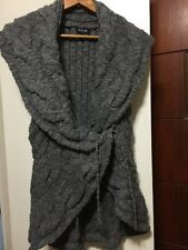 SILVIA NOVELLI Tan Wool Blend Italy Chunky Cable Knit Fall/Winter Cardigan M