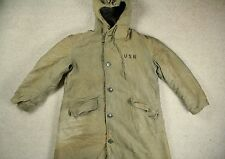 WWII WW2 KOREAN ERA US NAVY N-2 N140 HOODED TORPEDOMANS DECK PARKA COAT LARGE