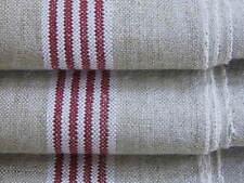 """vintage """" Leinen Roll-Mangeltuch """" feine Streifen Kombination rot/weiße Webkante"""