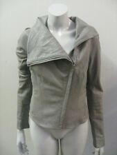 HELMUT LANG Gray Leather Motorcycle Jacket Knit Ribbing Size SMALL