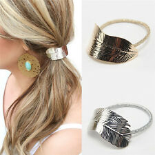 2Pc Fashion Women Lady Leaf Hair Band Rope Headband Elastic Ponytail Holder Gift