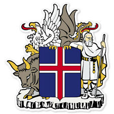 "ICELAND Coat of Arms bumper sticker decal 4"" x 5"""
