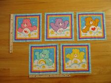 Childrens Care Bears Hearts Sunshine Pink Yellow Cotton Quilt Fabric Blocks (5)