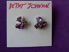 Betsey Johnson Authentic NWT Rose Gold-Tone Triple Crystal Cluster Stud Earrings