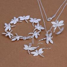 925 sterling silver Filling Dragonfly Necklace Earrings Ring Jewelry Sets 328