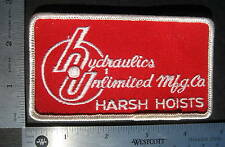 "HARSH HOISTS EMBROIDERED SEW ON ONLY PATCH HYDRAULICS UNLIMITED 4 1/2"" x 2 1/2"""