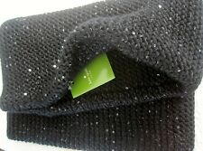 Kate Spade Sequin Infinity Neckwarmer Scarf Black with Black/Silver Threads