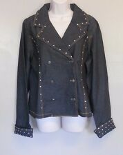 Devine Denim NY Blue Denim Jean stretch jacket with studs button front size 16