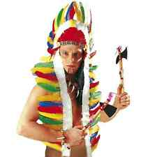 NATIVE AMERICAN INDIAN LONG HEADDRESS SET FANCY DRESS ACCESSORY TOY FEATHER HAT