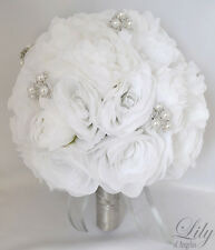 17pcs Wedding Bridal Bouquet Set Silk Flower Decoration Package WHITE