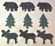 Set of 9 Bear Moose & Pine Tree Cotton Fabric Appliques for Quilts Apparel Etc