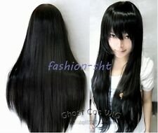 80CM Long Straight Cosplay New Fashion Wig BLACK Heat Resistant Full Wigs+Cap