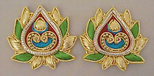 2 Hand-Embroidered Appliques. Metallic Bullion & Beads Paisely Motif