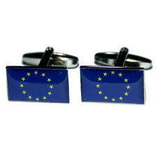 Blue & Yellow Eu Flag Cufflinks With Gift Pouch European Union Europe Flags